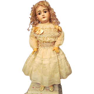 """Cotton Old Ivory Dress with Full Slip fit 26""""-27"""" (68cm) German or French Doll"""