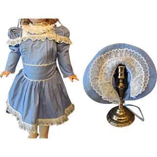 "Blue Dress with Jumper, Bonnet fits doll  27""(67-71cm) Antique German or French Bebe"