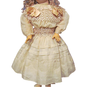 "Old Fine Cotton Dress with Full Slip fit 26""-28"" (68cm) German or French Doll"