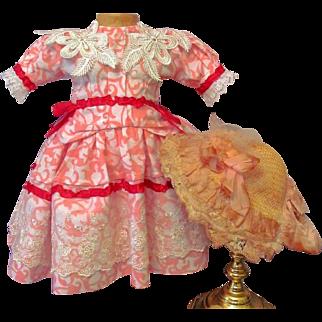"Cotton Pink Floral Dress Straw Hat fits 19-21"" Doll French Bebe SFBJ DEP Jumeau  Or German Kestner Simon Halbig"