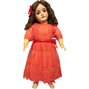 """Red Cotton Dress netted embroidered lace overlay, fits 28"""" German or French doll  . Must Have for Holiday!"""