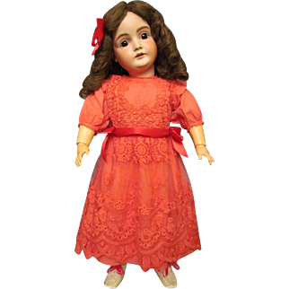 "Red Cotton Dress netted embroidered lace overlay, fits 28"" German or French doll  . Must Have for Holiday!"