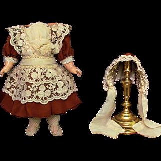 "Silk and lace Dress Bonnet fits 15"" French Jumeau Bebe, Eden bebe, SFBJ, DEP"