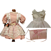 "Doll silk Dress, clutch, set of undergarments Fits 16-18"" German or French Doll"