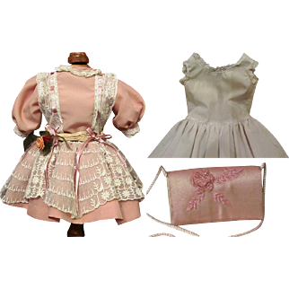 "Doll silk Dress, clutch, set of undergarments Fits 16-18"" German or French Doll"