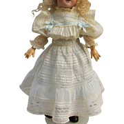 """Antique Cotton Doll Dress for 23-25"""" French or German Doll  with blue flannel full slip and velvet bonnet"""