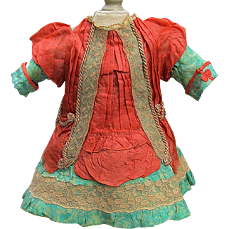 """French Silk Doll Dress Fits 18-19"""" Antique French Doll Jumeau Dress Steiner Eden Bebe"""