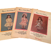 Lot of 3 Vintage Byron Doll Clothing Sewing Patterns uncut, ~~ Very useful and easy to do! ~~