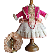 "Wonderful Costume 18"" French Jumeau Bebe or German Doll ~ Dress Bonnet Lace Velvet Silk~~"