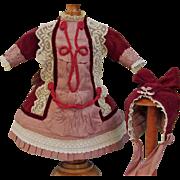 "20"" French Bebe Burgundy Velvet Silk Lace Dress for  Antique French bebe or German Doll"