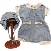 Vintage Checkered Romper and Matching Bonnet for Large Baby Dolls or German Bisque head Dolls ~~ Factory original ~~