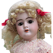 """20"""" Antique German Doll by Handwerck Mold 99 in very lovely vintage cotton dress."""