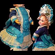 "French Dress, Bonnet fits 13 1/2"" Antique Doll Dress Jumeau Steiner Eden Bebe ~~ Hand Stitched~~ Layaway~"