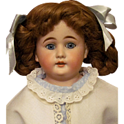 """20"""" Pretty Cuno Otto Dressel with blue gorgeous eyes Bisque Shoulder head Doll, kid leather body,"""