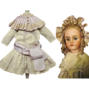 A Pretty Drop Waist Lavender Silk and Lace Vintage Doll Dress with matching Bonnet Fits Doll around 23""