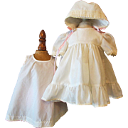 """Off White Doll Dress, Slip and Bonnet for 18-20"""" Effanbee, Ideal, Vintage Hard Plastic Doll 1950Ca+"""