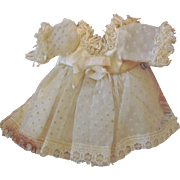 "Early Made Darling Organza Dress Crocheted Bonnet Cape for 6"" Mignonette, Tiny Doll House Doll ~ Factory original ~ Rare to find ~"
