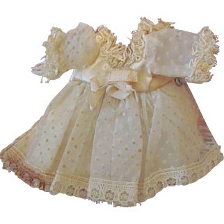 """Early Made Darling Organza Dress Crocheted Bonnet Cape for 6"""" Mignonette, Tiny Doll House Doll ~ Factory original ~ Rare to find ~"""