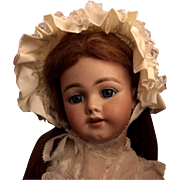 """White Child Doll Satin Bonnet for Doll with 14-15"""" head circumference"""