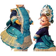 "French Dress, Bonnet fits 14"" Antique Doll Dress Jumeau Steiner Eden Bebe"