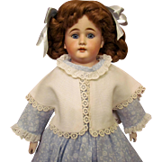 "20"" Pretty Cuno Otto Dressel with blue gorgeous eyes Bisque Shoulder head Doll, kid leather body,"