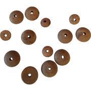 Antique Wooden Neck Buttons For Smaller Dolls.  To String Bisque head Dolls with Ball Joints. French Bebe or German Dolls