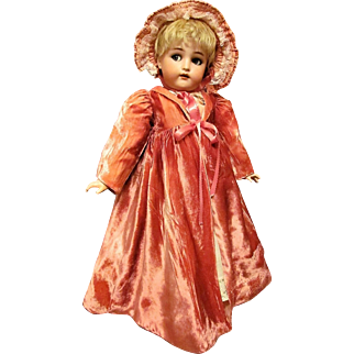 "Pink velvet Coat with bonnet For Your French or German 24-25"" Doll"