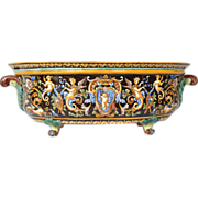 Antique French Gien faience jardiniere, second half 19th century.