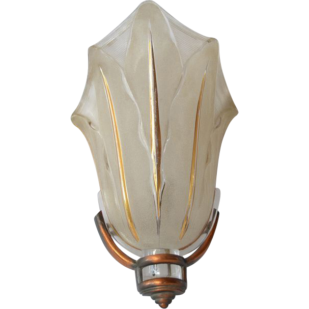 Art Deco 1930s Wall Sconce By Ezan Of France From
