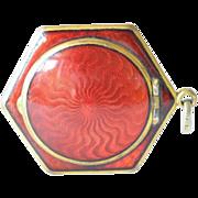 Gilded metal hexagonal guilloche enamel  pendant compact, 1920s.