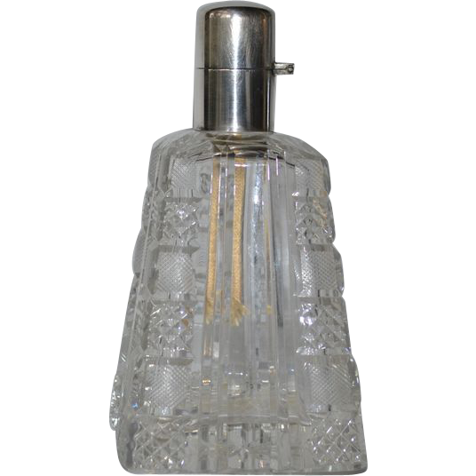 cut glass fragrance lamp lampe berger with silver cap from caraghantiques on ruby lane. Black Bedroom Furniture Sets. Home Design Ideas