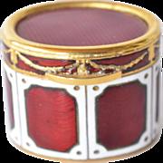 Vintage Italian guilloche enamel oval trinket box.