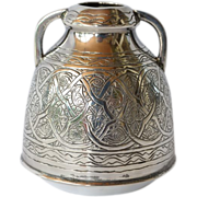 A vintage Egyptian 900 standard silver circular two-handled vase, Alexandria, mid 20th century.
