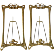 Art Nouveau pair of polished brass picture frames, 1900c.