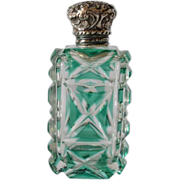 Victorian, late 1800s, green overlay glass scent bottle.