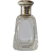 Scent bottle, 1930 c. , silver mounted,with silver top and guilloché enamel.