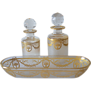 Antique, French, 1900c., Saint Louis pair of perfume bottles and dish.