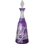 Perfume bottle ( decanter style ) , purple overlay, cut to clear, early 1900s.