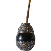 Early vintage Argentinian Silver ( 800 ) / gilt mate gourd and bombilla.