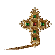 A Christian Dior gilt cross and chain, 20th century.