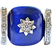 18k Gold and Lapis Lazuli Ring, 20th century.