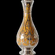 A Continental Porcelain Silver (800  standard ) Overlay Vase, 1920/1930s.