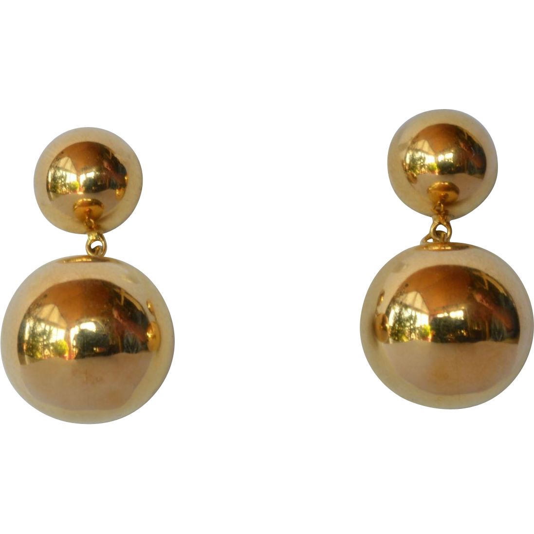 Vintage Pair Of Gold 18ct Ball Drop Earrings 1980 1990 Caragh Antiques Ruby Lane