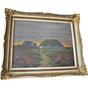 Farm buildings at sunset  , oil on canvas, continental school, early 20th century.