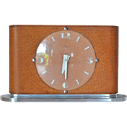 Imhof late Art Deco,1945 c., leather, plastic and steel desk clock, Arthur Imhof, SA, La Chaux de Fonds, Switzerland.