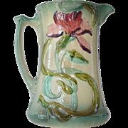 Majolica cream pitcher, French, 1900 circa.