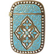 Vesta case, silver( 925 )/enamel original Andersen, David, early 1900s.