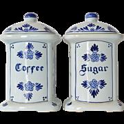 Vintage blue delft coffee & sugar jars, hand painted.