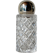 A vintage cut glass silver ( 925 ) topped sugar shaker, 1980 c.