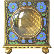 Clock case, metal doré and enamelled, traveller's clock, early 1900s.